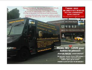 planned parenthood UPS van and Lamborg  contest