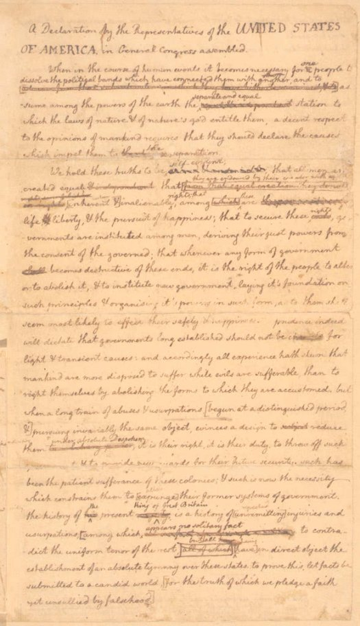 jefferson declaration of independence rough draught