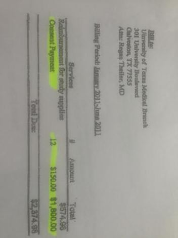 planned parenthood invoice closeup on 150 bucks ea