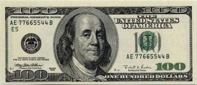 $100 bill Ben Franklin