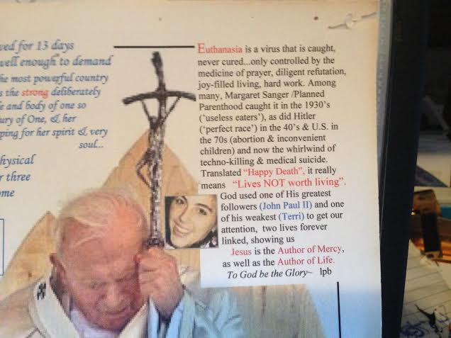 pope st john paul the great, terri and euthanasia