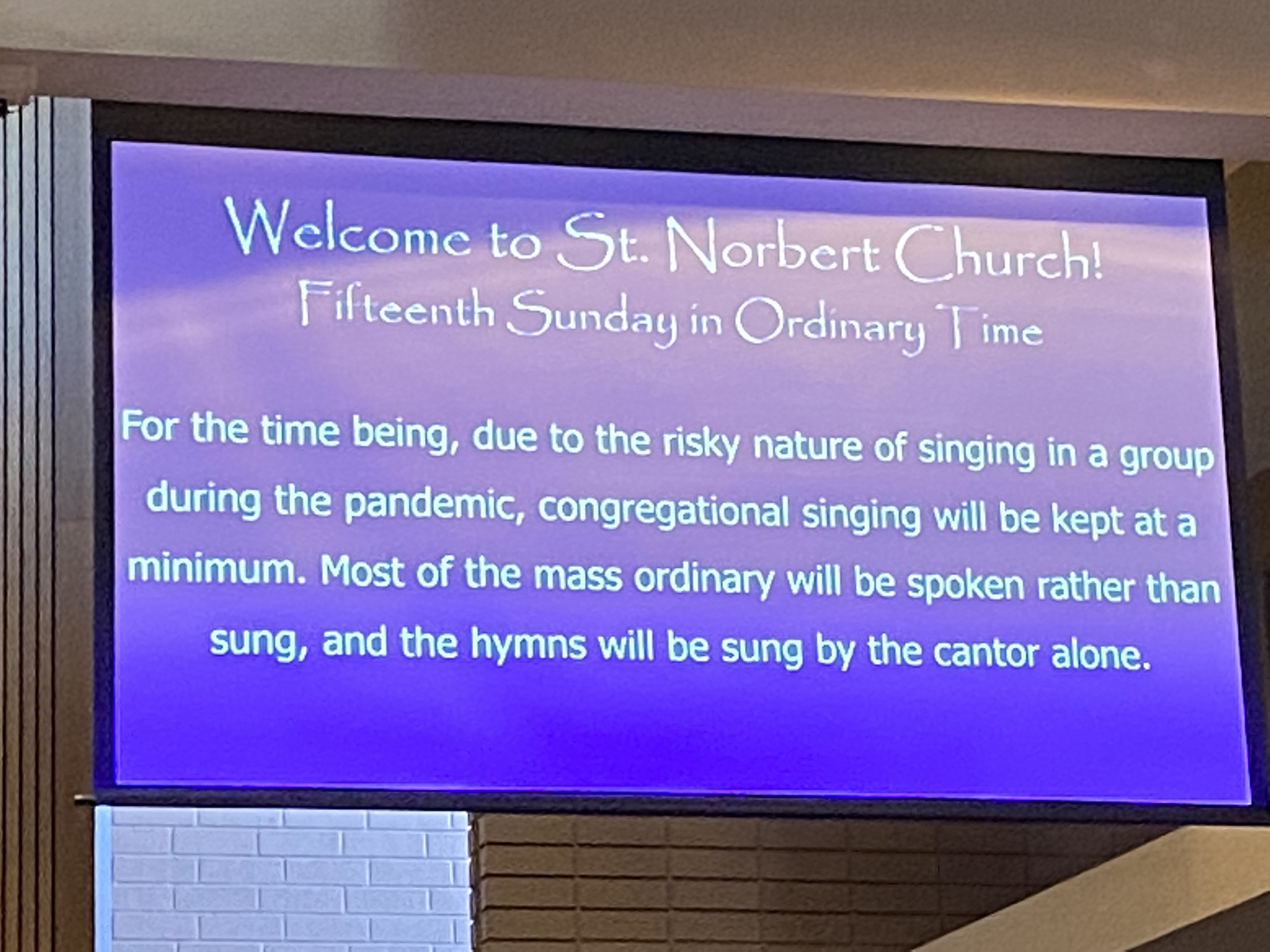 singing restricted at stnorb